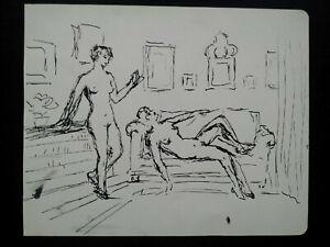 Curiosa femmes nues lisant esquisses dessin plume et l'encre dessin original