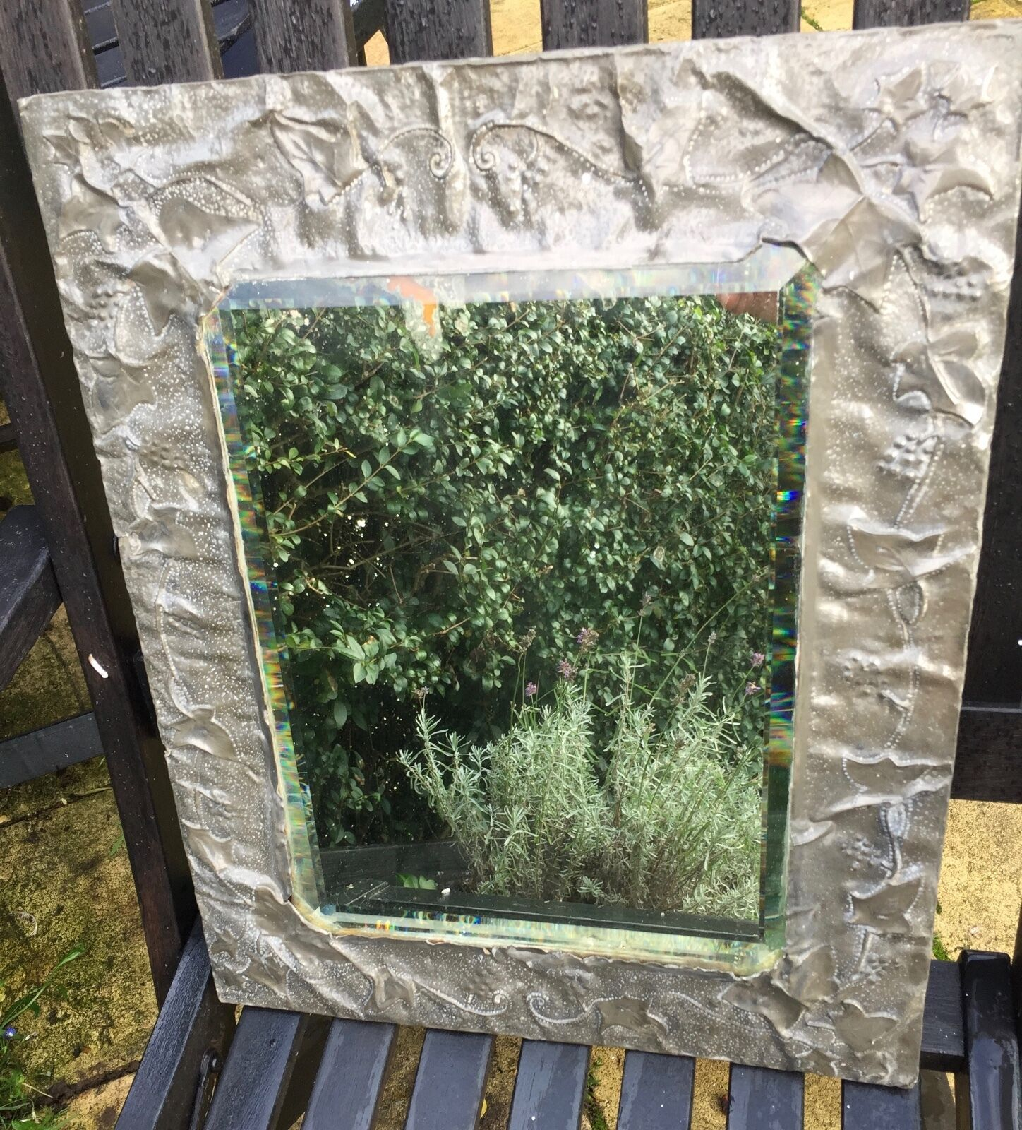 ANTIQUE 18-19TH C HAND HAMMErot METAL WALL BEVELLED MIRROR