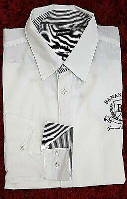 Details zu BRUNO BANANI Herren Hemd weiß schwarz bestickt Gr: 45 neuwertig