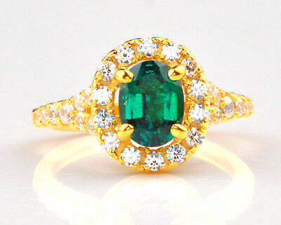 Diamond 1.45 Carat 14kt Yellow Gold Natural Green Emerald Egl Certified Diamond Ring Preventing Hairs From Graying And Helpful To Retain Complexion