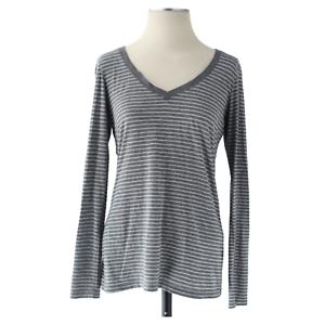 Vince Womens Long Sleeve V-Neck Gray White Striped Tunic Blouse Top Size Medium