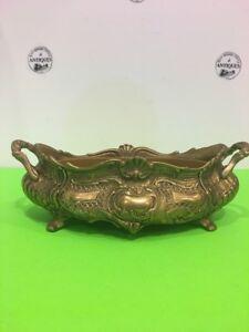 Antique-Vintage-French-Brass-Rococo-Jardiniere-Planter-Centerpiece-Flower-Box