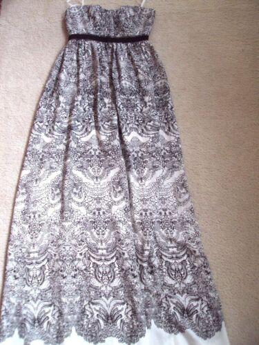 NEW 398 BCBG MAXAZRIA DRESS LONG GOWN BLACK WHITE AMBER 2 4 6  XS S M