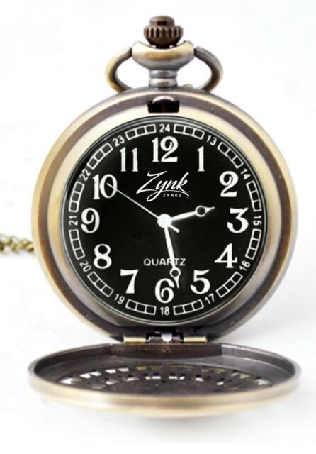 Zynkz Pocket Watch Black/Gold Colored Stainless Steel With Neckless