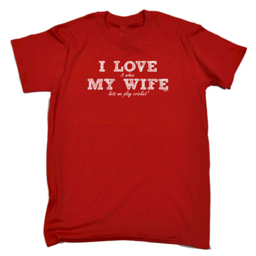 Divertenti Novità T-Shirt UOMO Tee T-Shirt-Love moglie Gioco Cricket