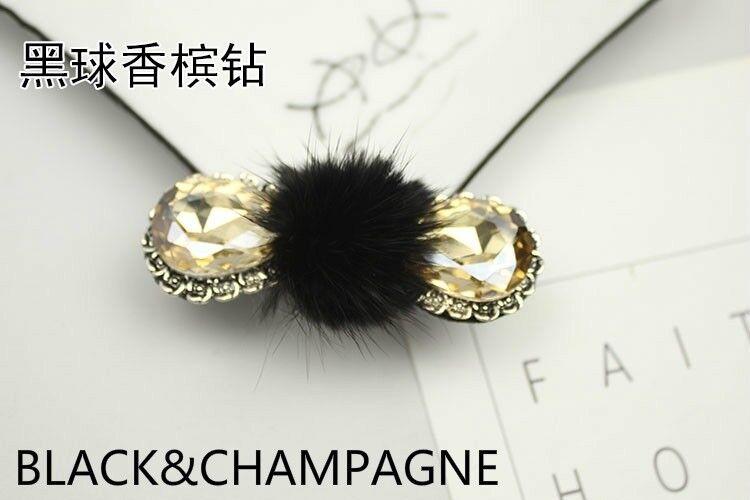 2 X Mink Fur Pom Pom Shoe Clip Buckle Furry Fluffy Diamante Rhinestone Adorn DIY
