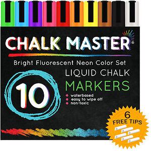10-Color-6mm-Chalkmaster-Liquid-Chalk-Markers-Neon-Pen-Set-6-Reversible-Tips