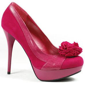 Fuchsia Pink With Flower Detail High Stiletto Heel Platform Pump
