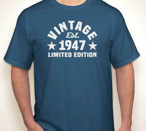 Image Is Loading VINTAGE EST 1947 Or Any Year Happy 70th