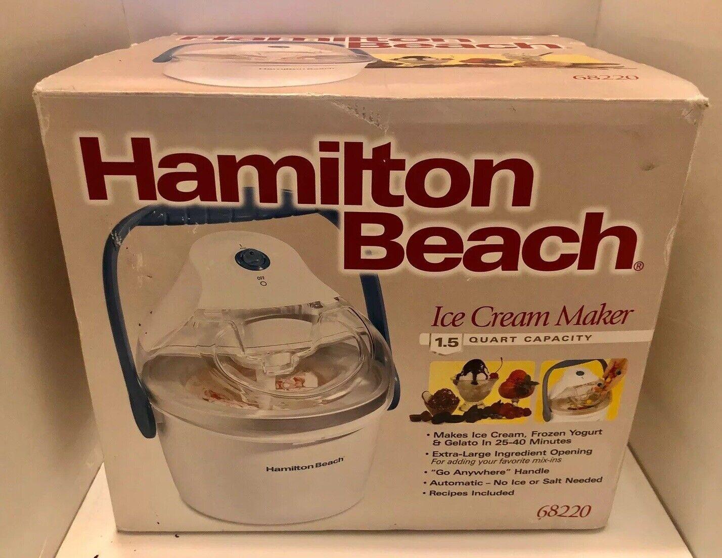 White Hamilton Beach 68220 1.5-Quart Capacity Ice Cream Maker ...