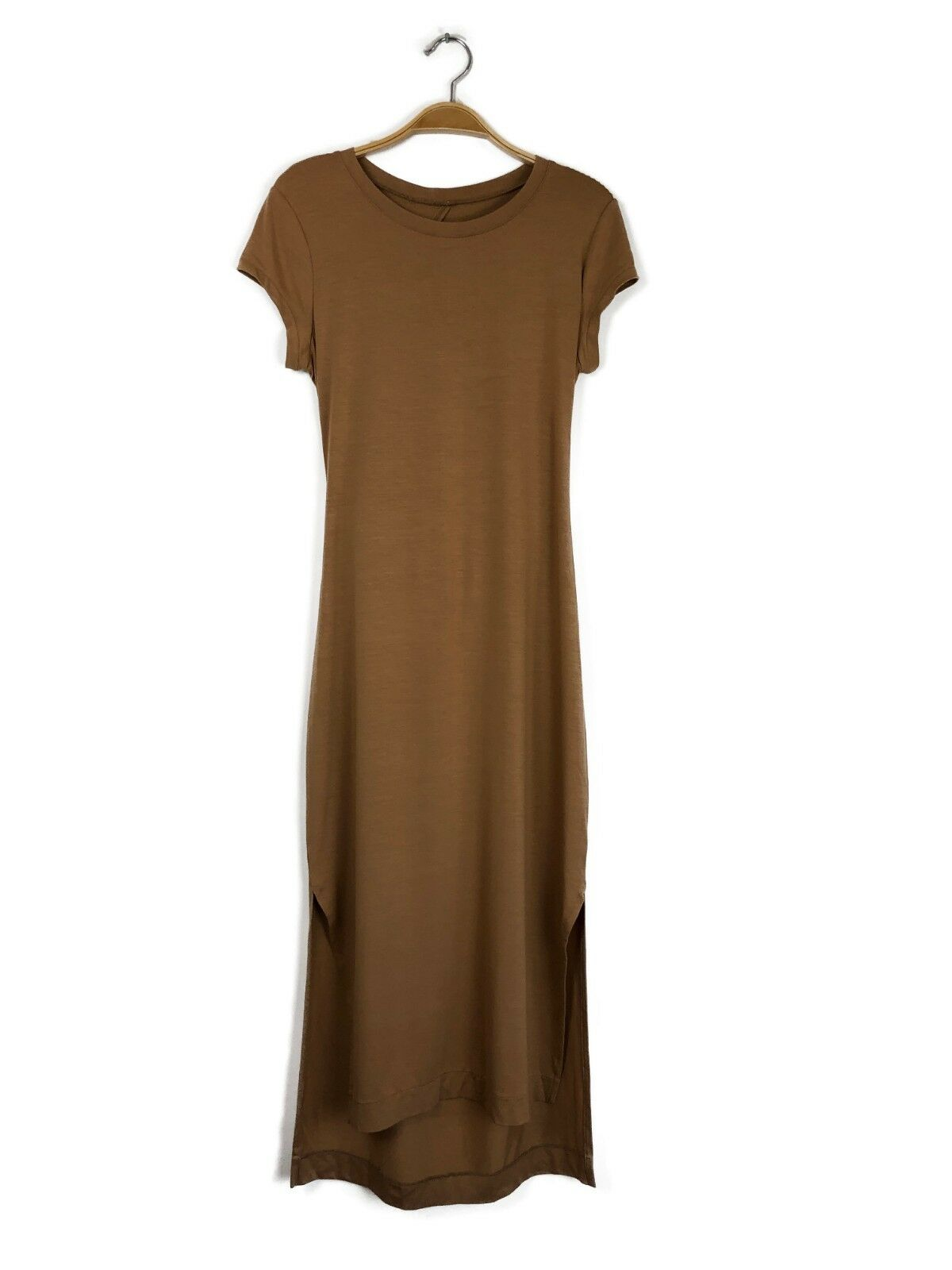 ENZA COSTA S S Jersey Crew Open Back Solid Midi Dress Foundation braun M  B3