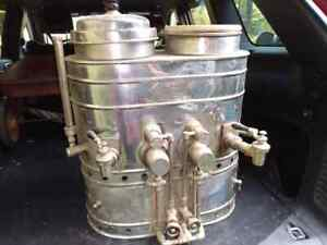 2 Antique Hot Soda Dispensers Fountain Coffee Brewer Old Store 1918 L L Rowe