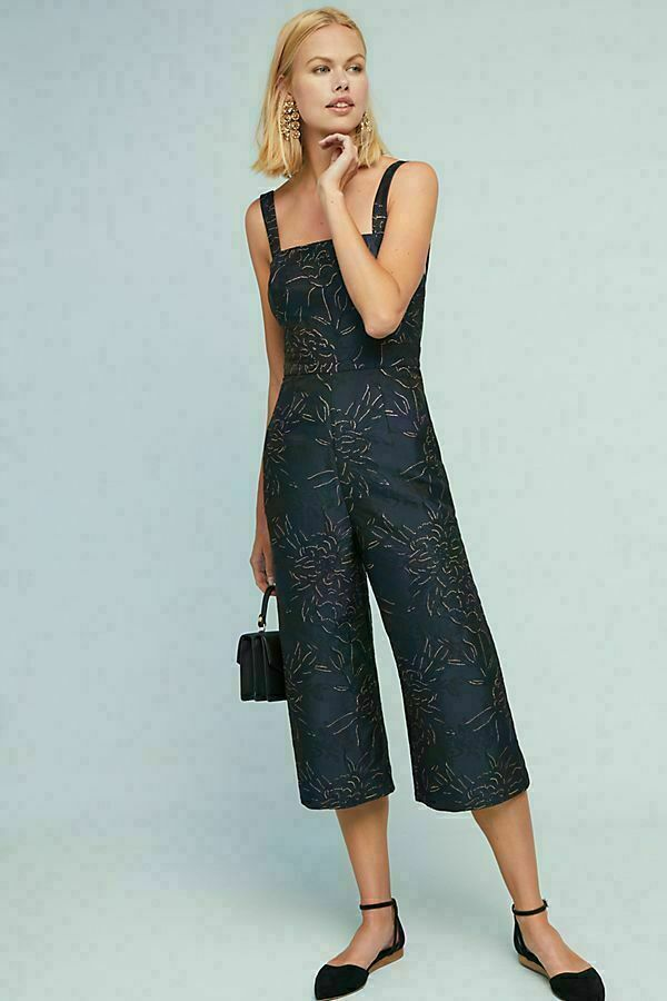 ANTHROPOLOGIE HUTCH BREMERTON EMBROIDERED CROPPED WIDE LEG JUMPSUIT 14
