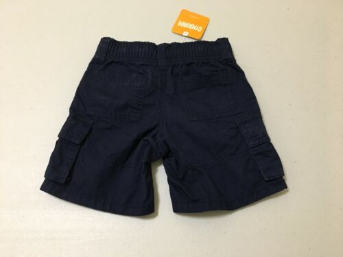 NWT Gymboree Boy Cargo shorts Elastic Waist pull on Navy Blue 6 12-18M,2T
