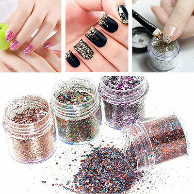 DIY 10ml/Box Nail Art Glitter Powder Pink Rose Red Mixed Sequins Manicure Tips