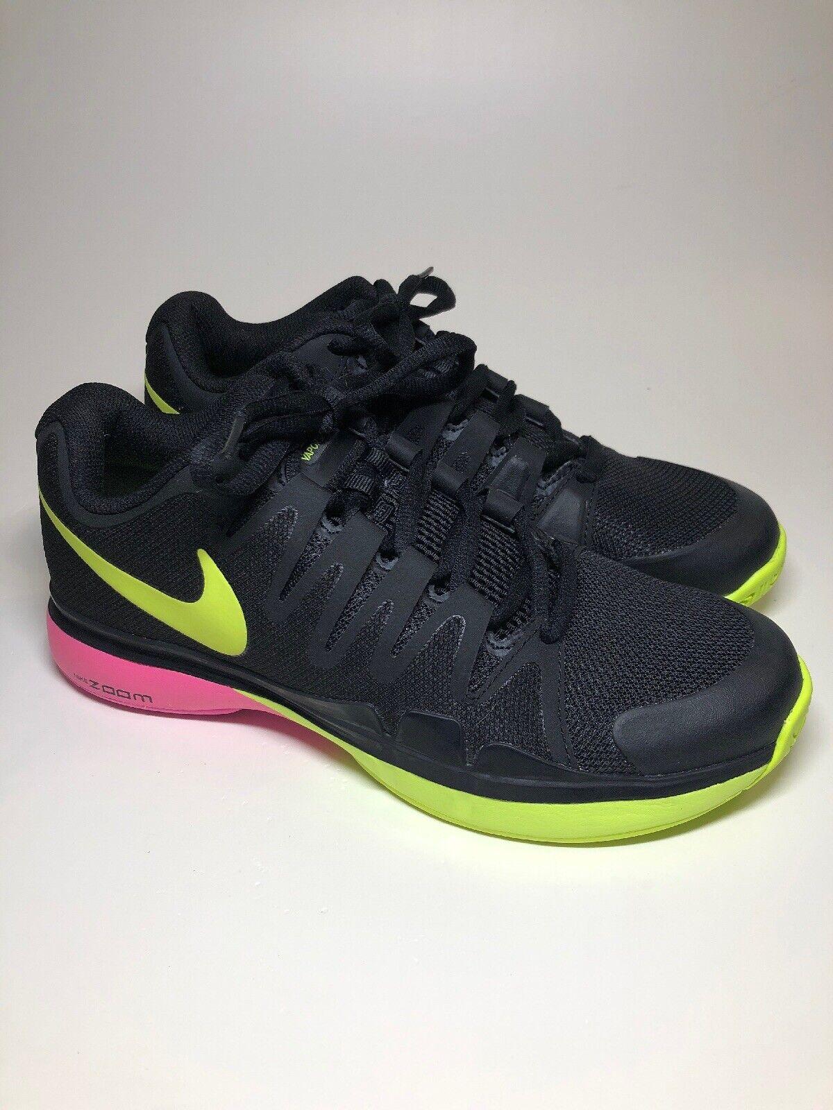 Nike Vapor 9.5 Tour Black Yellow Pink Tennis shoes Womens Size 8.5 M (Mens 7 M)