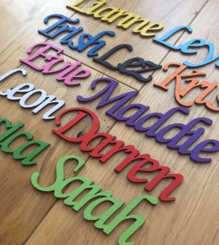 Script Names Letters Words Personalised Christmas Wedding Book Art Wooden BIRCH