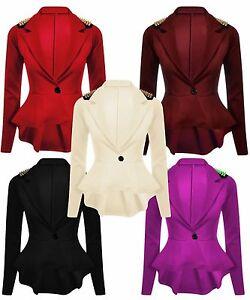 Nouveaux-Womens-Plus-Taille-Clous-Dores-Peplum-Veste-Blazer-Femmes-8-24