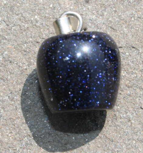 Blue Goldstone Crystal Stone Barrel Pendant Reiki Blessed  in Lavender Gift Bag