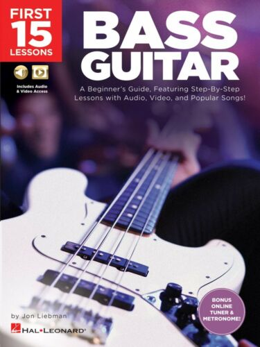 First 15 Lessons Bass Guitar A Beginner/'s Guide with Audio Video 000244590