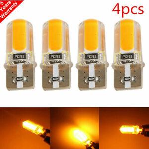 4x-T10-194-168-W5W-COB-LED-Car-Canbus-Silica-Width-Light-Bulbs-Amber-Yellow-Lamp