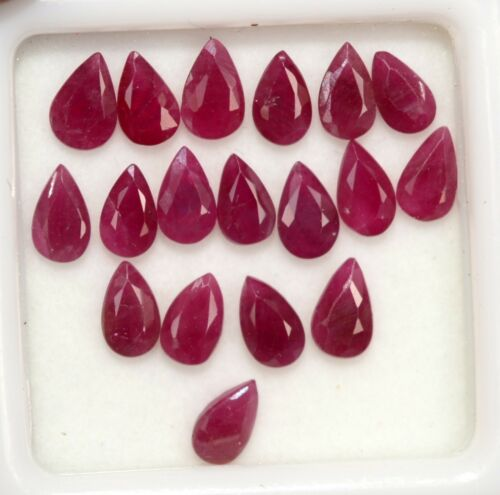4.93 Cts Natural Ruby Pear Cut 5x3 mm Lot 18 Pcs Red Shade Loose Gemstones
