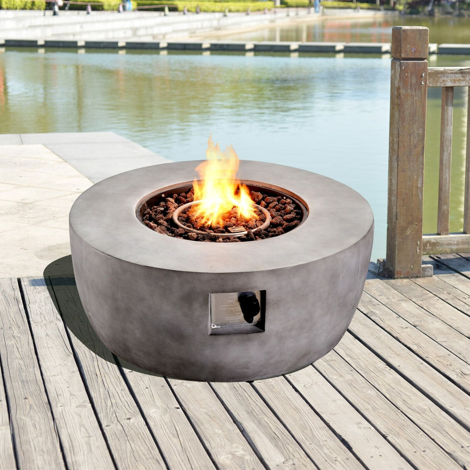 Peaktop Firepit Outdoor Gas Fire Pit Resin With Lava Rock & Cover HF36501AA-UK
