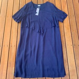 New With Tag BIB Big Is Beautiful Plus Size 18 Navy Dress Short Sleeves RRP $99