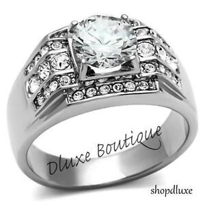 Men-039-s-3-35-Ct-Round-Cut-Simulated-Diamond-Silver-Stainless-Steel-Ring-Size-8-14