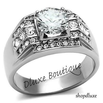 Men's 3.35 Ct Round Cut Cubic Zirconia Silver Stainless Steel Ring Size 8-13