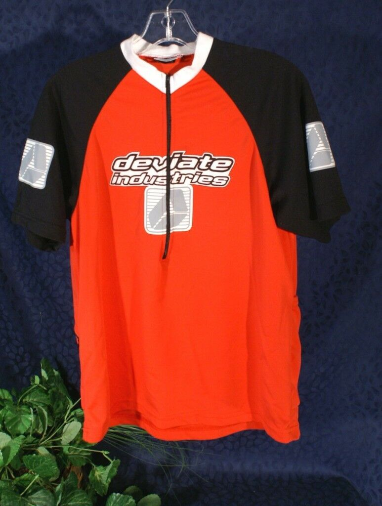 DEVIATE INDUSTRIES Red Short Sleeve Cycling Jersey M