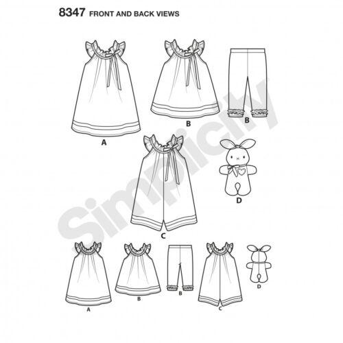 Simplicity Baby Easy Sewing Pattern 8347 Dress Capris /& Stuffed Bun... Top