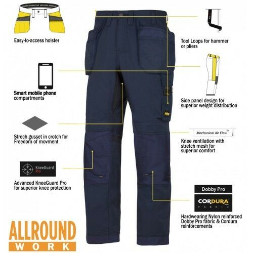 SNICKERS Pantaloni 6201 allroundwork Fondina Tasca Pantaloni Uomo Nero Workwear