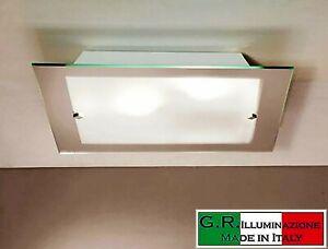 Plafoniera Quadrata Vetro Satinato : Lampada da soffitto plafoniera quadrata in legno scuro e vetro