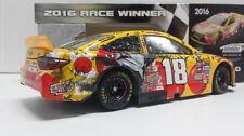 RACE DAMAGED KYLE BUSCH 2016 #18 KANSAS M&M's RED NOSE RACE WIN 1:24 - 2017