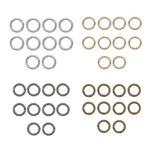 10x 28mm Round Circle Carabiner Snap Hooks Keychain Keyring O Ring Spring