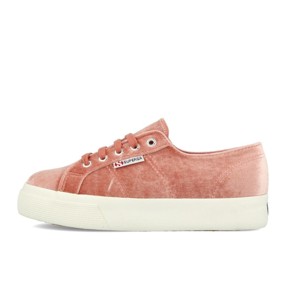 Zapatos promocionales para hombres y mujeres Superga 2730 Polyvelu Pink Dusty Rose Plateau Schuhe Sneaker Rosa Weiß