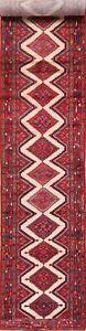 3x17-Vintage-Geometric-Hamedan-Hand-Knotted-Long-Runner-Rug-Oriental-Wool-Carpet