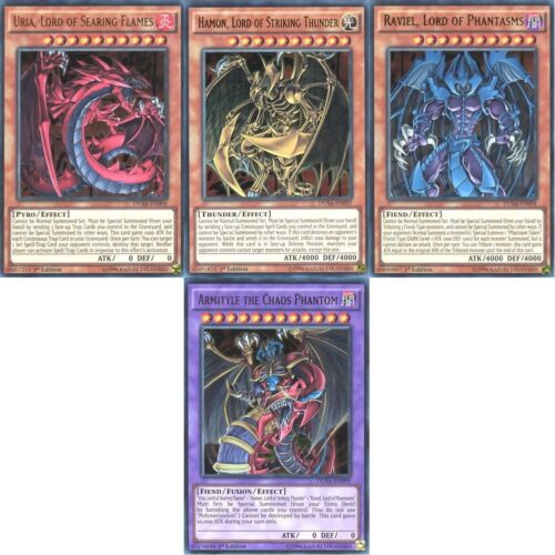 YUGIOH THE SACRED BEASTS GX GOD CARDS ARMITYLE URIA HAMON RAVIEL ULTRA RARE DUSA