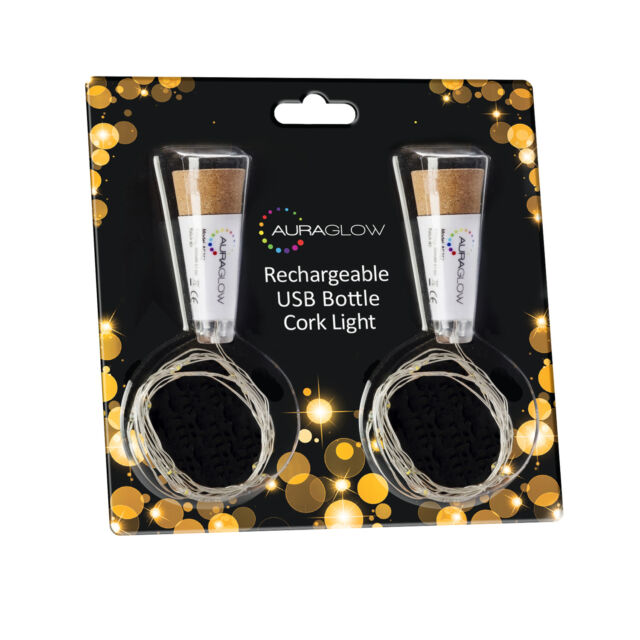 Auraglow Rechargeable USB LED Bottle Cork Wire Fairy String Lights  - Twin Pack