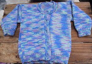 Vintage-Baby-Cardigan-Jumper-Newborns-Sz-00-000-Boys-Girls-Sweater-Blue-Green