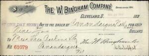 1894 Cleavland Ohio (OH) Contract The W. Bingham Company