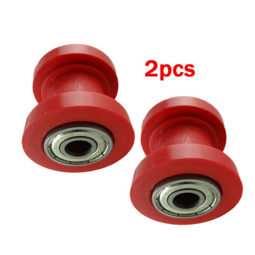 2x Red Chain Roller Slider Tensioner Guide Pulley for Dirt Pit Bike Motorcycle