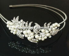 Silver white Pearl flower ladies headband hair wedding accessory women girl cute
