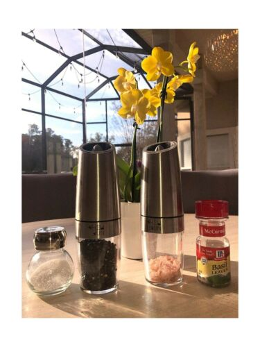 Electric Pepper Grinder or Salt Mlill Gravity Battery Powered with Blue LED L...