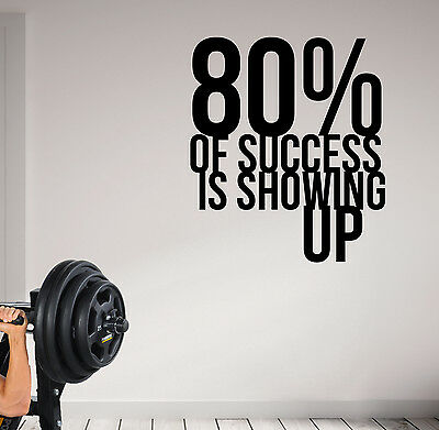 80% of Success is Showing Up Pro Fitness Life Motivational Wall Decal Quote