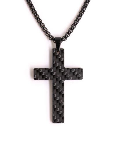 CARBOGREY Männer Herren Halskette Edelstahl Carbon Schmuck Kreuz Traicere
