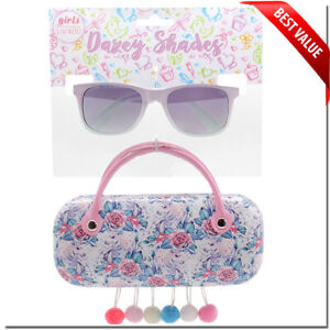 KIDS GIRLS SUNGLASSES UNICORN CUTE SHAPE 6-12 WITH MATCHING CASE LOL PARTY