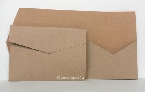 "LO 100/% Recycled Kraft Pocketfold Invitations 5x7/"" Portrait Wallet C//W Envelopes"