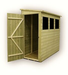 8x3 Garden Shed Pent Tanalised 3 Windows Low Side Pressure